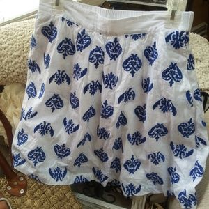 Land's End WHITE &  Blue EMBROIDERED Skirt